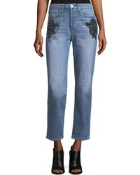3x1 | Burke High-rise Beaded Boyfriend Crop Jeans | Lyst