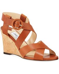 2356a215d16 Lyst - Jimmy Choo Domenique 85 White Vachetta Leather Cork Wedges in ...