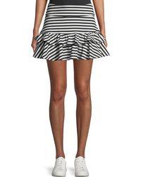 Kate Spade - Stripe Ruffle Mini Skirt - Lyst