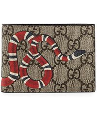 f0412adcd86884 Gucci Snake Printed Gg Supreme Canvas Wallet in Black for Men - Lyst