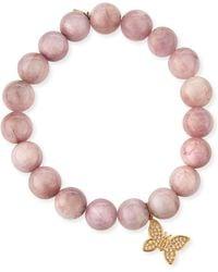 Sydney Evan | Round Kunzite Beaded Bracelet With Diamond Butterfly Charm | Lyst