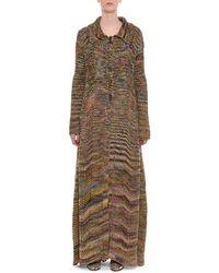 Missoni - Multicolour Button-front Long Wool Coat - Lyst