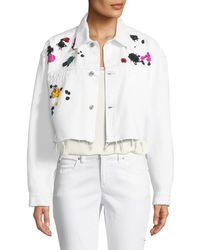 Oscar de la Renta   Splatter-embroidered Denim Jacket   Lyst