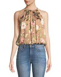 Alice + Olivia - Rosa Floral-print Silk Halter Top - Lyst