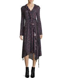 Magda Butrym - Ferrara Long-sleeve Floral-print Silk Midi Dress - Lyst