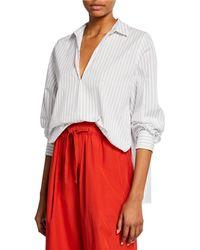 09016f8ec75a0 Vince - Bar-stripe V-neck Long-sleeve Swing Front Blouse - Lyst