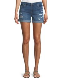 7 For All Mankind - Mid-rise Rolled-cuff Distressed Denim Shorts - Lyst