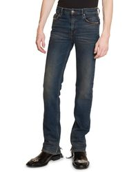 uk availability e8598 cf726 Men's Fitted 5-pocket Jeans With Hem Detail