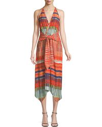 Ramy Brook - Ella V-neck Sleeveless Tie-front Printed Dress - Lyst