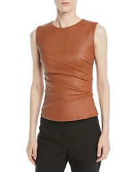 Narciso Rodriguez - Stretch Leather Fitted Sleeveless Top - Lyst