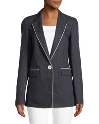 Lafayette 148 New York - Rhoda Contrast-trim Denim Blazer - Lyst