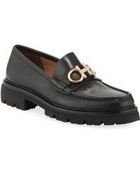 ac45c17054a Ferragamo - Men s Bleecker Leather Lug-sole Loafers With Reversible Bit -  Lyst