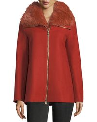 Herno - Long-sleeve Zip-front Wool Coat W/ Fur Collar - Lyst