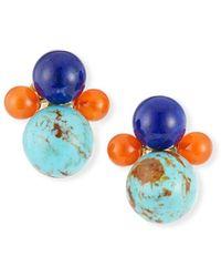 Ippolita - Nova 18k Gold 4-bead Snowman Clip-on Earrings In Riviera Sky - Lyst