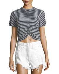 T By Alexander Wang - Short-sleeve Striped Gathered-front Tee - Lyst
