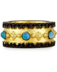 Armenta - Old World Wide Band Ring With Neon Apatite & White Quartz - Lyst
