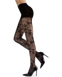 Natori - Scarlet Lace Sheer Floral-pattern Control-top Tights - Lyst