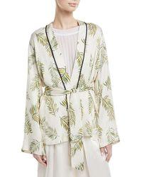 Giada Forte - Desert Leaf-print Satin Jacket - Lyst