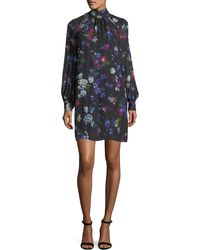 MILLY - Sherie Long-sleeve Painted Floral Georgette Silk Minidress - Lyst