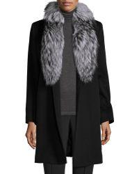 Fleurette - Belted Fur-trim Wrap Coat - Lyst