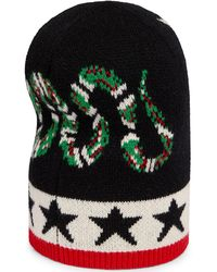 7b9f38e8 Gucci - Men's Aderfull Wool Kingsnake & Panther Beanie Hat - Lyst