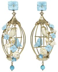 Of Rare Origin - Lovebirds Turquoise & Pearl Drop Earrings - Lyst