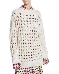 Oscar de la Renta - Wool/cashmere Laser-cut Fisherman Sweater - Lyst