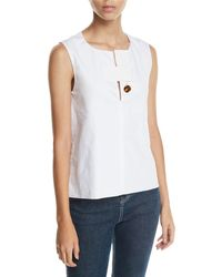 Rosetta Getty - Tab-neck Sleeveless Cotton Poplin Top - Lyst