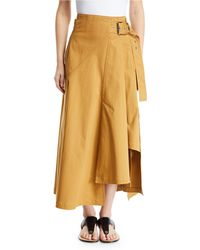 3.1 Phillip Lim - Belted High-low Twill Utility Skirt - Lyst