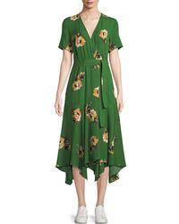 5fc5ad6f82 Ba&sh Cora Elbow-sleeve Printed Wrap Dress in Blue - Lyst