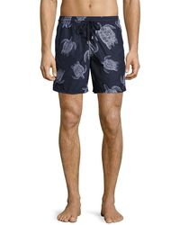 Vilebrequin - Moorea Sharkskin Turtle Swim Trunks - Lyst