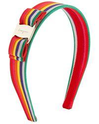Ferragamo - Vara Logo Rainbow Grosgrain Headband - Lyst