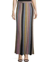 M Missoni - Vertical Striped Crochet Maxi Skirt - Lyst