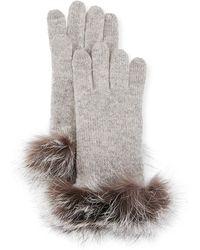 Sofia Cashmere - Cashmere Gloves W/ Fur Cuffs - Lyst