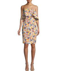 Badgley Mischka - Strapless Ditsy-print Popover Dress - Lyst