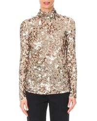 06edcfae9d99 Givenchy - Long-sleeve Mock-neck Squiggle Sequin Top - Lyst