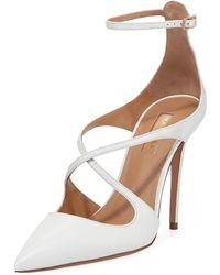 Aquazzura - Viviana Leather Ankle-strap Pump - Lyst