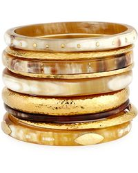 Ashley Pittman | Light Horn & Bronze Stacking Bangles | Lyst