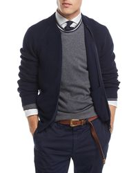 Brunello Cucinelli - Ribbed Knit Full-zip Cardigan - Lyst