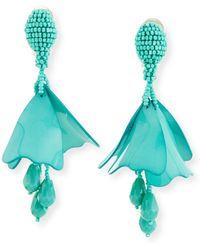 Oscar de la Renta - Small Impatiens Flower Drop Earrings - Lyst