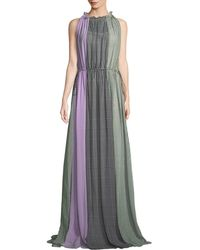 Lela Rose - High Halter-neck Sleeveless Ruched Plaid Silk Gown - Lyst