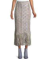 Adam Lippes - Hand-knit Tweed Midi Skirt W/ Fringe - Lyst