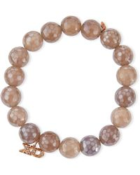 Sydney Evan - 10mm Faceted Gray Chalcedony Bracelet W/ 14k Rose Gold Diamond Xo Charm - Lyst