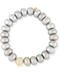 Sydney Evan - 10mm Gray Pearl Button Bracelet With Diamond Bezel Ball Station - Lyst