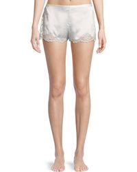 Josie Natori - Camilla Lace-trim Silk Lounge Shorts - Lyst