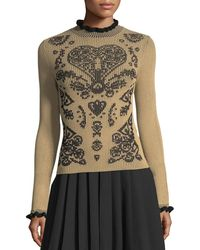 RED Valentino - Mock-neck Fractured-pattern Ribbed Sweater - Lyst