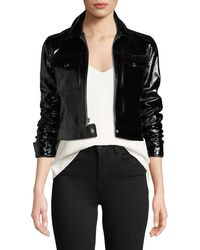L'Agence - Lex Cropped Patent Leather Moto Jacket - Lyst