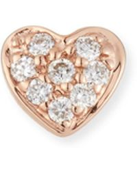 Sydney Evan - 14k Diamond Heart Single Stud Earring - Lyst