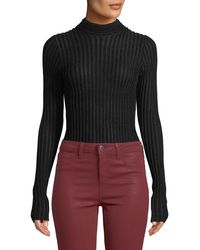 L'Agence - Celeste Ribbed Mock-neck Long-sleeve Top - Lyst