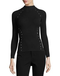 Thierry Mugler - Star-stud Mock-neck Sweater - Lyst